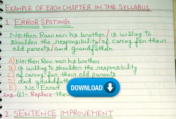 Handwritten Notes English Grammar