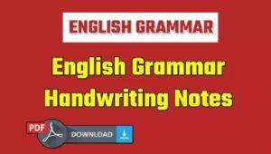 English Grammar Handwritten Notes