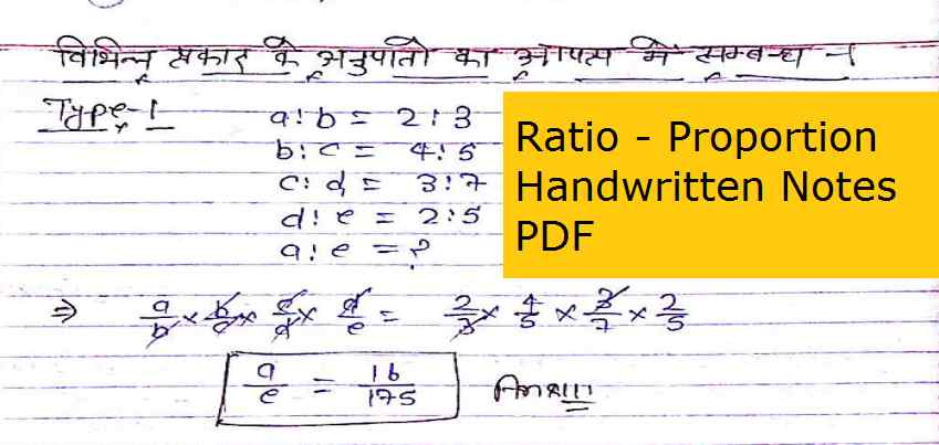 Ratio and Proportion Handwritten Notes PDF