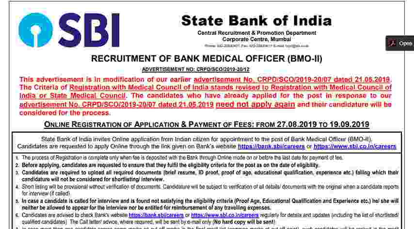 SBI Bank Medical Officer Recruitment 2019