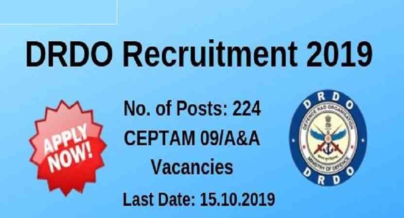 DRDO CEPTAM 09 A&A Recruitment 2019