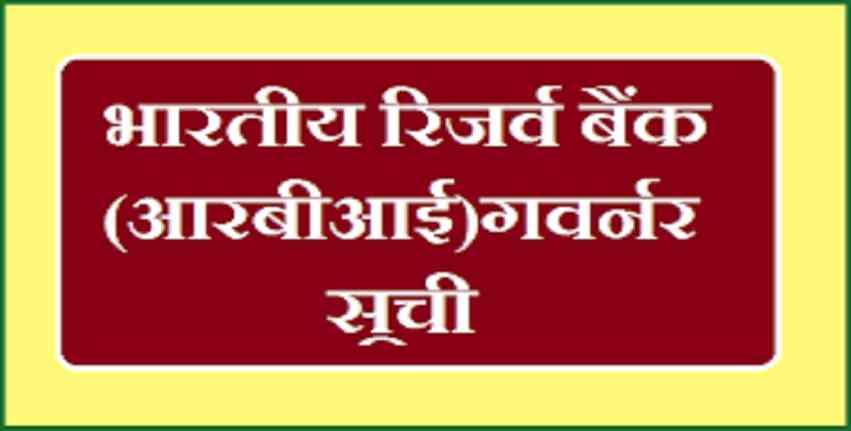 RBI Governors List