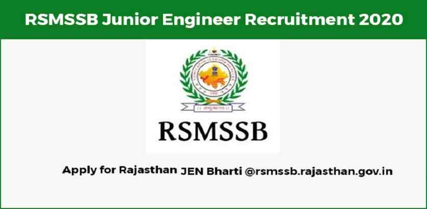 RSMSSB JEN Recruitment 2020